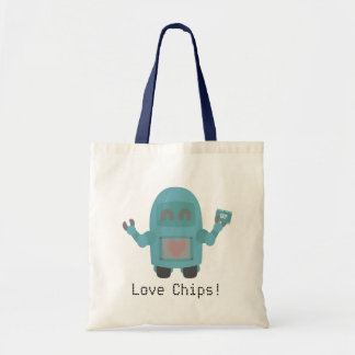 Robot Loves Computer Chips Tote Bag