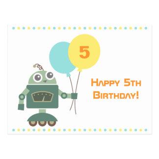 Robot mignon avec des ballons joyeux anniversaire carte postale