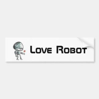 Robot mignon avec une fleur autocollant de voiture