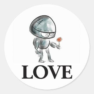 Robot mignon avec une fleur sticker rond