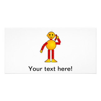 Robot on the phone cartoon custom photo card