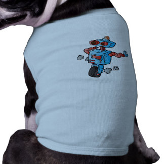 robot on wheel . pet tee shirt