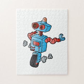 robot on wheel . puzzle