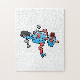 robot on wheel . puzzles