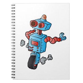 robot on wheel . spiral notebook