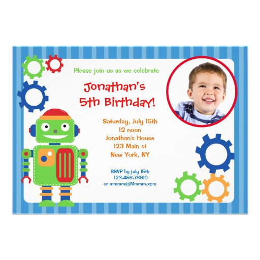 Robot Photo Birthday Invitations