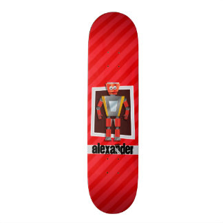 Robot ; Rayures de rouge d'écarlate Skateboards Cutomisables