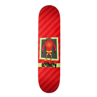 Robot rouge et vert ; Rayures de rouge d'écarlate Plateau De Skateboard