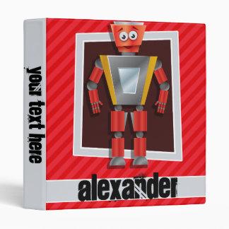Robot; Scarlet Red Stripes Vinyl Binder
