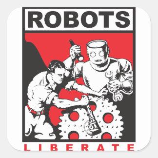 Robot sets you free square sticker