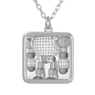 robot silver plated necklace