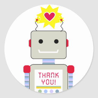 Robot Thank You Stickers