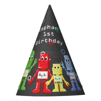 Robot themed birthday party hats