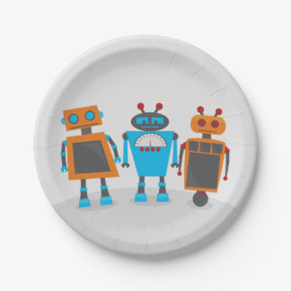 Robot Trio Party Paper Plate