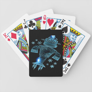 Robot two bicycle playing cards
