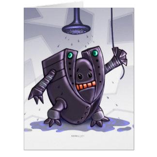 ROBOT WASH CUTE CARTOON  BIG GREETING Card