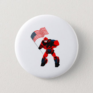 Robot with American Flag Boys for 4th of July 2 Inch Round Button