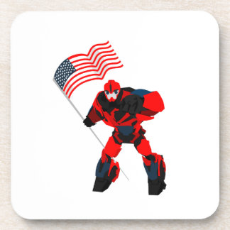 Robot with American Flag Boys for 4th of July Coaster