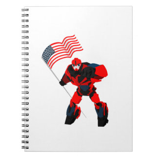 Robot with American Flag Boys for 4th of July Notebook