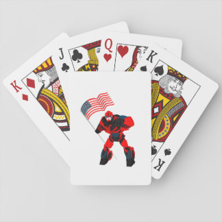 Robot with American Flag Boys for 4th of July Playing Cards