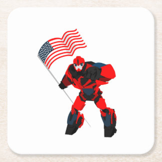 Robot with American Flag Boys for 4th of July Square Paper Coaster