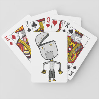 Robot With An Open Head Playing Cards