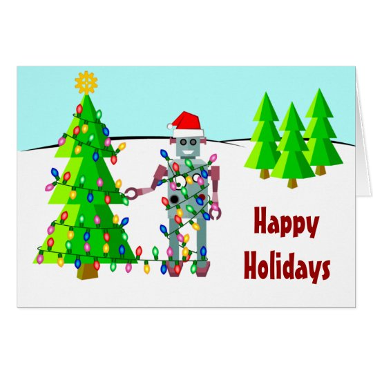 Robot with Christmas Lights Card