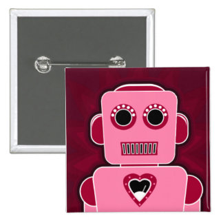 Robot with heart 2 inch square button