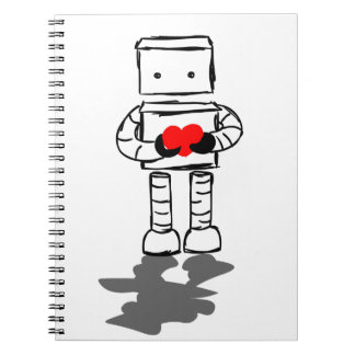 Robot with Heart Spiral Notebook