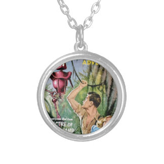 Robot with Mean Eyes Silver Plated Necklace
