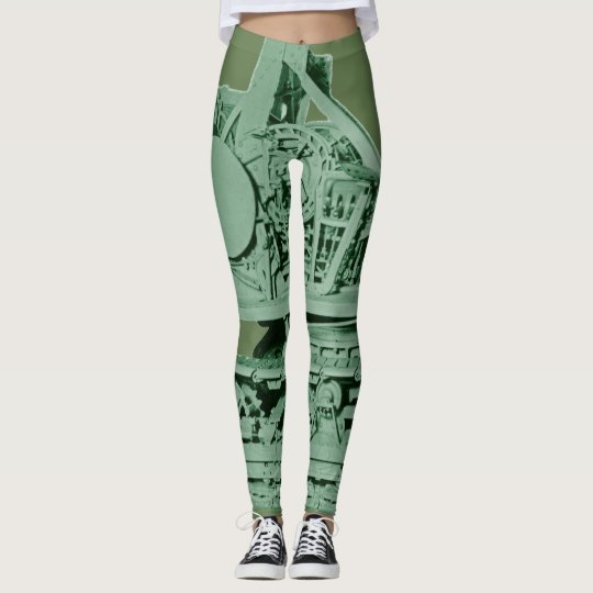Robotic Metal Machinery Industrial Green Leggings