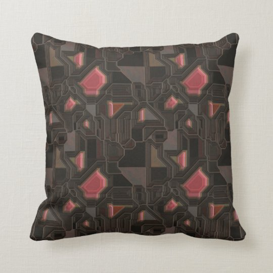 Robotic Pink Cyborg Panel Throw Pillow