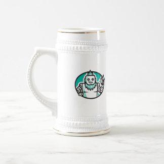 Robotic Poseidon Holding Trident Oval Retro Beer Stein