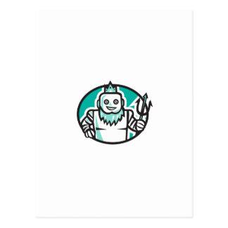 Robotic Poseidon Holding Trident Oval Retro Postcard