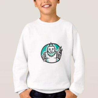 Robotic Poseidon Holding Trident Oval Retro Sweatshirt