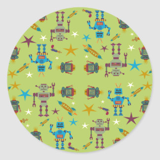 Robots and Rockets Classic Round Sticker