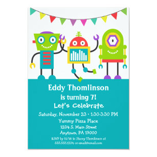 Robots Birthday Invitation Boys Colourful Robot