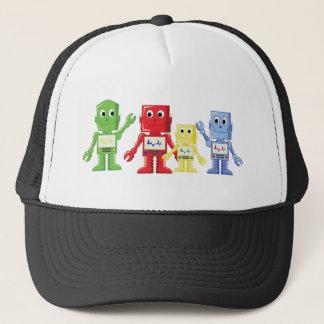 Robots cartoon illustration multicolored trucker hat