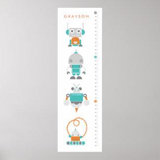 Robots Childrens Custom Growth Height Chart - Art Poster