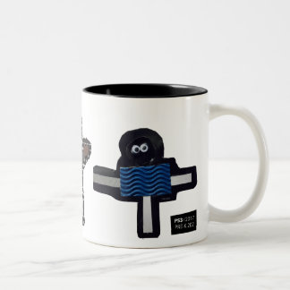 ROBOTS chrissy, stella, hendrix Two-Tone Coffee Mug