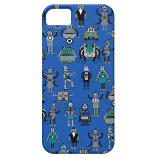 Robots! Geek Vintage Retro Robots on Blue iPhone 5 Cover