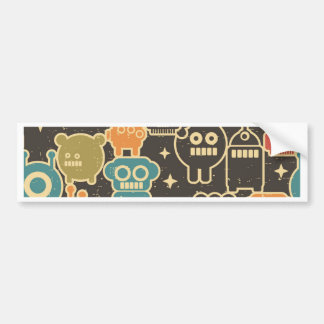 Robots on brown bumper sticker