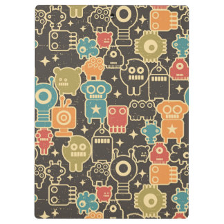 Robots on brown clipboard
