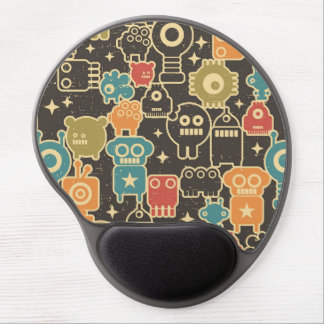 Robots on brown gel mouse pad