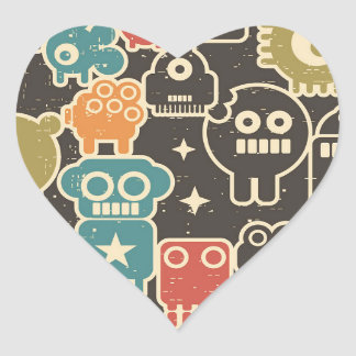 Robots on brown heart sticker