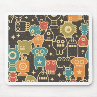 Robots on brown mouse pad