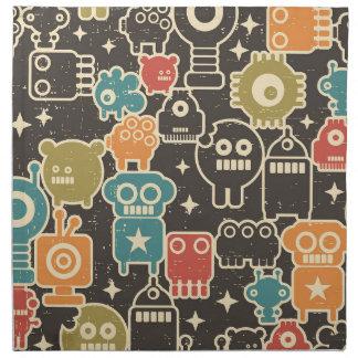 Robots on brown napkin