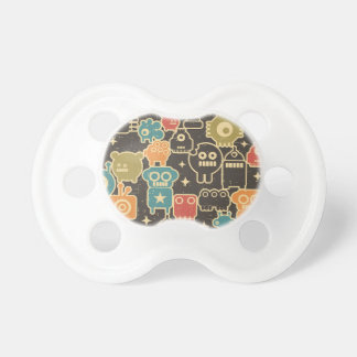 Robots on brown pacifier