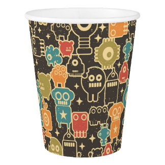 Robots on brown paper cup