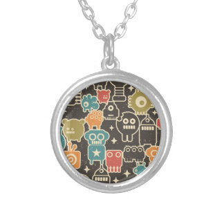 Robots on brown silver plated necklace